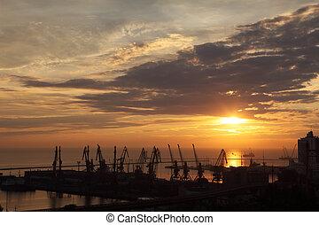 odessa, ukraine, port, coucher soleil