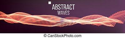 odgłos, informacja, vector., cząstka, abstrakcyjny, complexity., ilustracja, wzrokowy, muzyka, kropka, tło, fale, albo, wave.