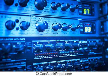 odgłos, panowanie, buttons., upadek, detail., equipment., transmisja, deska