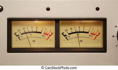 odgłos, stereo, -, wyposażenie, część, liczniki, decybel