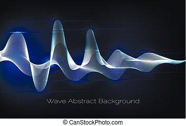 odgłos, tło., abstrakcyjny, ilustracja, machać, waveform,...