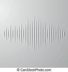 odgłos, waveform, cień, papier
