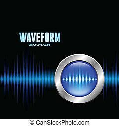 odgłos, waveform, guzik, srebro, znak