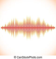 odgłos, waveform, strzały, trójkątny, czerwony