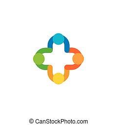 odizolowany, abstrakcyjny, barwny, wektor, logo., medyczny, krzyż, illustration., szpital, i, ambulans, logotype., plus, poznaczcie.