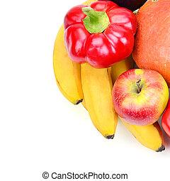 odizolowany, biały, owoce, warzywa, zdrowy, jadło.