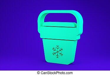 odizolowany, chłodnica, 3d, refrigerator., handheld, tło., zieleń błękitna, concept., torba, przenośny, bag., ikona, render, minimalizm, zamrażarka, ilustracja