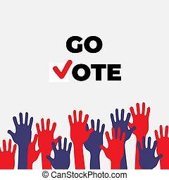 odizolowany, do góry, teamwork, współpraca, głosowanie, hands.