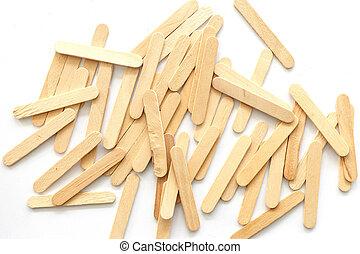 odizolowany, drewno, wtykać, tło, lody, biały