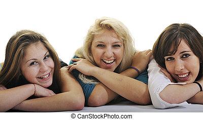 odizolowany, dziewczyny, trzy, młody, biały, szczęśliwy