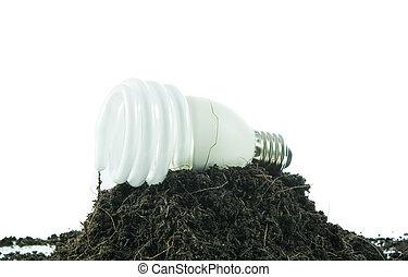 odizolowany, gleba, bulwa, stos, energia, pojęcie, zielone światło