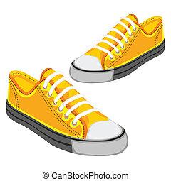 odizolowany, ilustracja, obuwie