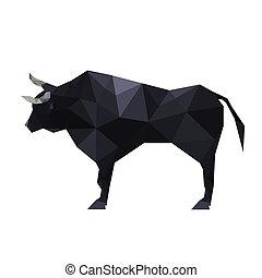 odizolowany, ilustracja, polygonal, tło, byk, origami, biały