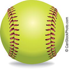 odizolowany, ilustracja, softball, biały