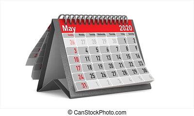 odizolowany, ilustracja, year., 2020, kalendarz, 3d