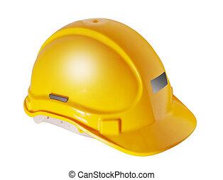 odizolowany, kapelusz, żółty, twardy, biały