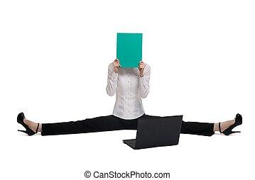 odizolowany, kobieta, papier, prospekt, biuro, handlowy