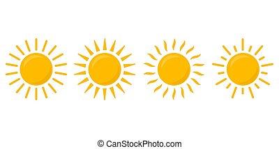 odizolowany, komplet, wektor, ilustracja, słońce, tło., ikona, biały