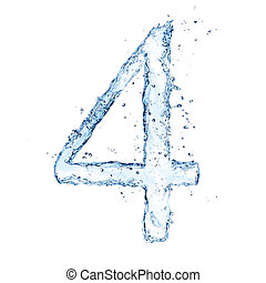 """odizolowany, liczba, woda, plamy, tło, """"4"""", biały"""