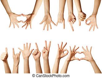 odizolowany, ludzkie ręki