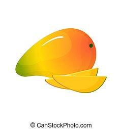 odizolowany, mangowiec, tło, świeży, biały, rysunek