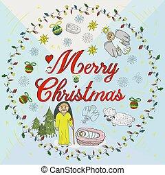 odizolowany, napis, tło, prawowierny, dziatw, chorągiew, girlandy, ozdobny, niemowlę, koło, następny, kołyska, zabawki, doodle, gratulacje, boże narodzenie, styl, magi, płatki śniegu