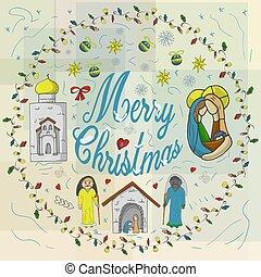 odizolowany, napis, tło, prawowierny, dziatw, chorągiew, kościół, urasheno, girlandy, płatek śniegu, niemowlę, koło, doodle, gratulacje, boże narodzenie, stodoła, styl, magi, świątynia
