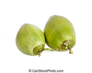 odizolowany, orzechy kokosowe, tło, zieleń biała
