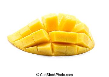odizolowany, owoc, mangowiec, tło, żółty, biały, thai