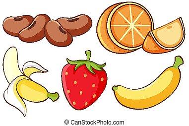 odizolowany, owoce, komplet, tło, biały