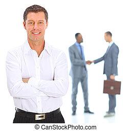 odizolowany, portret, od, niejaki, starszy wykonawca, businessman., radosny, i, w, niejaki, garnitur