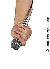 odizolowany, ręka, mikrofon, biały