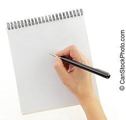 odizolowany, ręka, pióro, notatnik, pisanie, gest