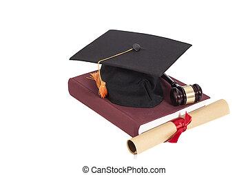 odizolowany, skala, książka, gavel, kapelusz, dyplom