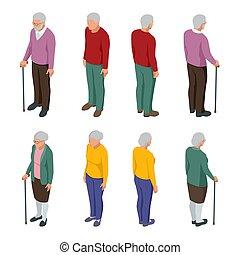 odizolowany, starszy, para., man., isometric, kobieta, grupa, ludzie, ludzie., dziadkowie, senior, white., sędziwy
