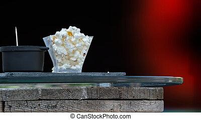 odizolowany, struktura, zakąska, tło, popcorn, partia