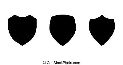 odizolowany, tarcza, komplet, wektor, ilustracja, tło., ikona, biały