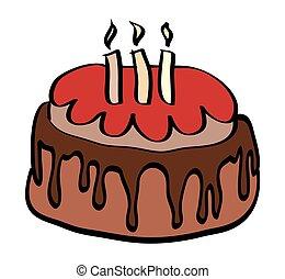 odizolowany, urodziny, tło., wektor, ilustracja, biały, rysunek, cake.