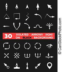 odizolowany, wektor, strzały, znaki, na, czarne tło