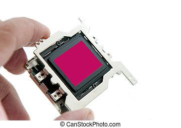 odizolowany, wręczać dzierżawę, biały, sensor, cmos