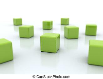 odizolowany, zielony, kostki, biały