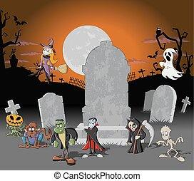 odjur, halloween, kyrkogård