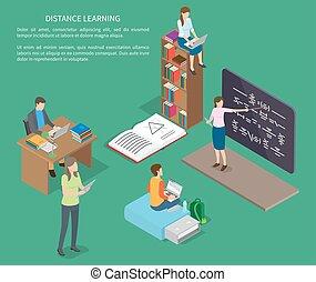 odległość, sieć, ludzie, wektor, nauka, chorągiew