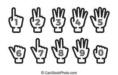odliczający, komplet, ikona, palec