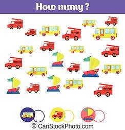 odliczający, oświatowy, dzieci, gra, dzieciaki, działalność, sheet., jak, dużo, obiekty, task., nauka, matematyka, takty muzyczne, dodatek, temat