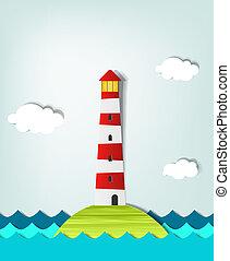 odludny, latarnia morska, wyspa