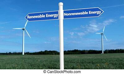 odnawialny, turbiny, pojęcie, energia, biały, drogowskaz, ...