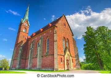 odnowiony, kościół, w, zalesni, lhota, -, hdr, wizerunek