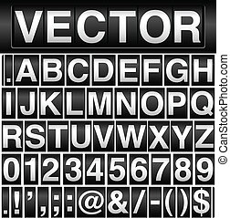 Vector odometer background with interchangeable letters, numbers, punctuation marks and currency symbols. Letters, numbers and symbols fit together perfectly.