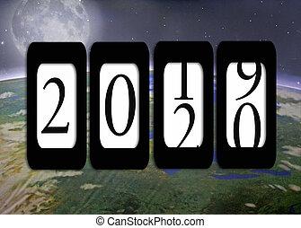 odometr, planeta, 2020, rok, nowy, ziemia